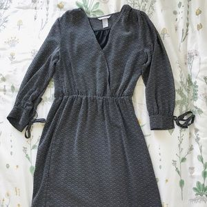 H&M Faux Wrap Dress Navy Blue